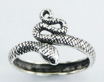 Great Solid Sterling Silver Coiled King Cobra Snake Serpent Ring Sizes 6-9