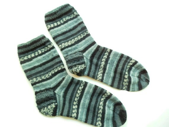 Hand knit,  casual socks, grey black socks, wool socks, knit wool sock, Unique socks, House socks, Boot socks