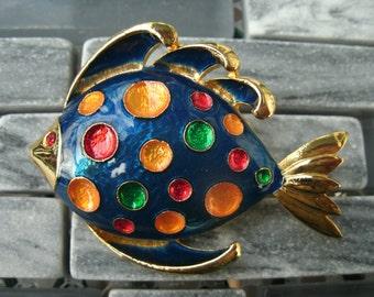 Polka Dot Fish Brooch Pin Vintage Gold Tone Red Rhinestone Eye