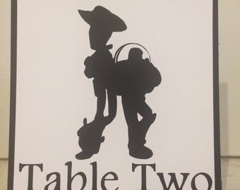 Disney Themed Wedding or Shower Table Numbers / Display Cards