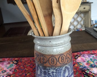 Beautiful ceramic spoon and utensil crock