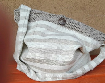 Linen bag with crochet/unique pieces made by hand/Accessori