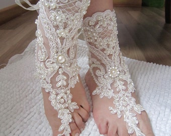 Ivory Lace Wedding Barefoot Sandals, Ivory Lace wedding Anklet,  barefoot sandals,Wedding Anklet,Pearl Lace Sandals