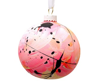 Hand Painted Ceramic Bauble // Pink, Yellow and Coral // God Colours Collection // Christmas Decoration // Ornament