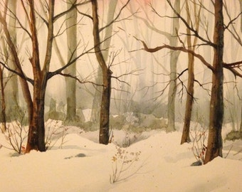 Hand Painted Original Watercolor Misty Winter New England Morning