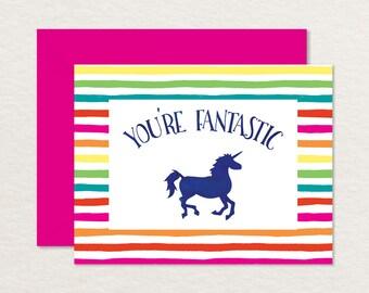 Printable Graduation Card / Unicorn A2 You're Fantastic / Printable Encouragement Card / Friendship Card / Love Card / Appreciation Card