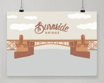 Burnside Bridge / Illustrated Print / Portland, Oregon Design