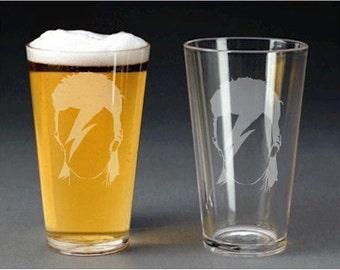 David Bowie Etch Glasses - pint glass - beer mug - shot glass