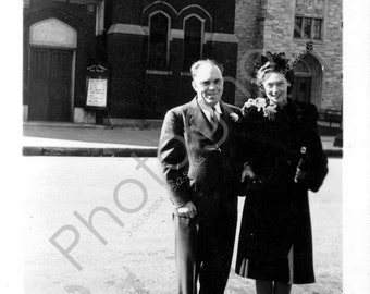 Out for a Sunday Walk - Vintage Snapshot 1930's 1940's 1950's