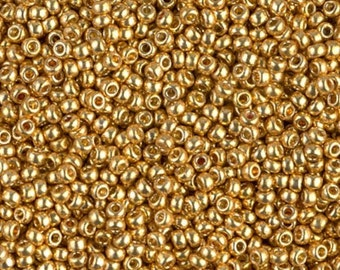 Duracoat Galvanized Gold, D4202 Miyuki size 11/0 Glass Seed Bead, 10 grams