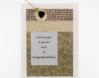 """Handmade Greeting Card - """"...Wish of Congratulations"""" on Slate and Gold Fine Art Papers"""