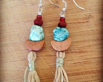 Gypsy Summer - turquiose  tassel earrings