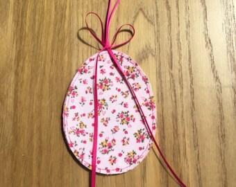 Felt fabric easter egg, easter decoration, pink floral ornament, floral easter egg, baby pink decoration, handmade easter egg, pink egg