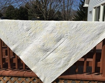 """VERY OLD Yellow and White quilt, Hand quilted, Vintage Linen, Antique Quilt, 77 1/2"""" x 79"""", White quilt, Yellow Quilt, Scrap quilt"""