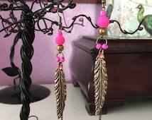 Hot pink metal feather drop earrings