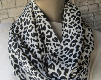 Leopard  Black and White Scarf / Mothers Day Gift, Circle scarf , Women Fashion, Accessories, Christmas Gift Ideas For Her For Mom
