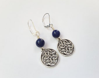 Blue Lapis and Celtic Knots Dangles . Earrings