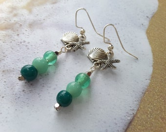 Shades of Teal . Sea Charms . Earrings