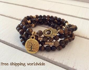 108 Mala, Tiger Eye, Hamsa Necklace, Mens Necklace, Wrist Mala, Wrap Bracelet, Energy Bracelet, Hand of Fatima Mala, Prayar Beads, Yoga Mala