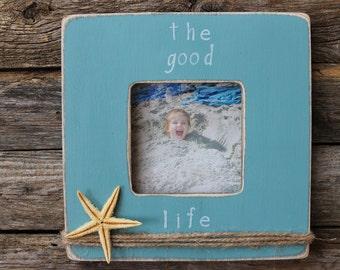 Beach Photo Frame, Starfish Frame, Light Blue Frame, Nautical Picture Frame