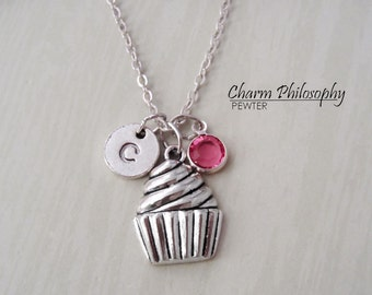 Cupcake Necklace - Antique Silver Jewelry - Monogram Personalized Initial and Birthstone