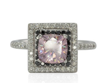 Moissanite Engagement Ring - 10% off - OBO - Pink Moissanite Ring with Black and White Diamond Halo - On Sale from Laurie Sarah - LS3807