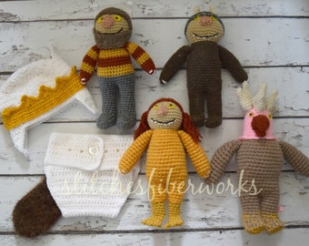 Custom Crochet Where the Wild Things Are Photo Prop Set, Newborn Photo Prop, Where the Wild Things Are, Crochet Toy, Crochet Doll