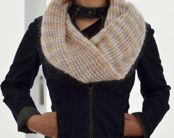 Neckwarmer, Knit Neckwarmer,Cowl Neck Warmer,Wool Knit Neck warmer,Wool Neckwarmer,Molair Knit Neckwarmer,Cream Knit Neckwarmer