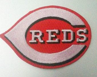 "Cincinnati Reds Logo Iron On Patch 3 1/2"" x 2 3/8""  Baseball Logo Free Shipping"