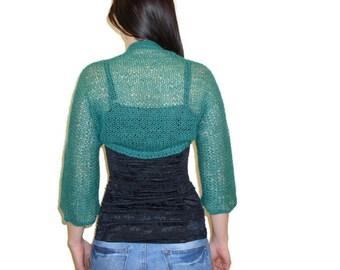Hand knitted boleros. Shrugs & Boleros. Women shrugs.Soft and elegant shrug. Knit soft elegant. Shrug. Vest. Dark green bolero.