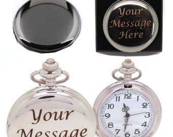 Engraved Gunmetal or Chrome Pocket Watch