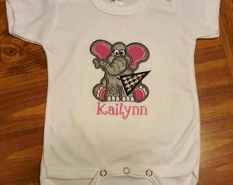 Alabama Varsity Girl Onesie- Girl Elephant with Flag- Bama Baby
