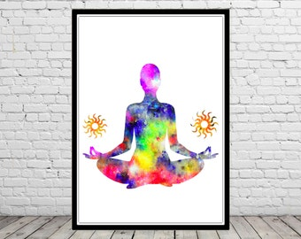 Yoga pose, watercolor Yoga pose, Yoga pose print, Room Decor, Poster,print  (1876b)