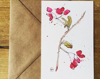 Rosehip watercolour illustraion Postcard
