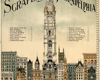 Sky-scrapers of Philadelphia Illustration, 1898.  Vintage restoration hardware home Deco Style old wall reproduction map print.