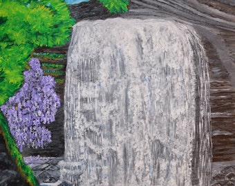 Looking Glass Falls, Waterfall Scenic Painting