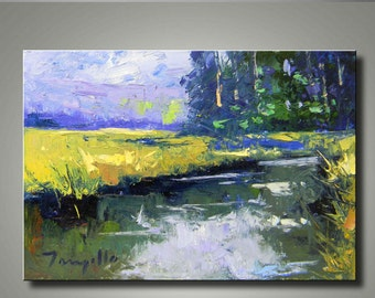 "Modern Abstract Textured Hand-Embellished Canvas Wall Art Giclee Print (Ready To Hang) by JOSE TRUJILLO ""Marshland Beauty"" - P0017"
