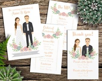 Custom Illustrated Wedding Program