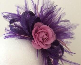 Purple and pink fascinator