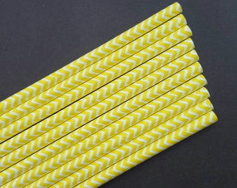 Paper Straws - yellow straws - yellow chevron straws-colorful paper straws - birthday party straws - 10 count