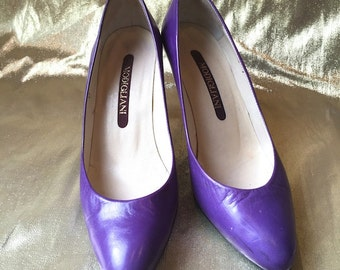 Vintage 1970s/1980s Purple Leather Heels // Spring Has Sprung // Deep Purple