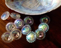 10 aurora borealis glass buttons – 10 dazzling glass buttons - eye-catcher - old collector / glass buttons - rare