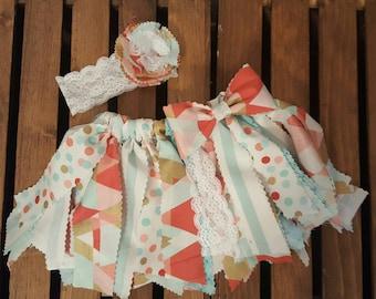 Pink Blue geometric pattern fabric tutu, Toddler tutu, Pink and Blue Tutu, Pattern Fabric Tutu, Pastel Scrappy Skirt