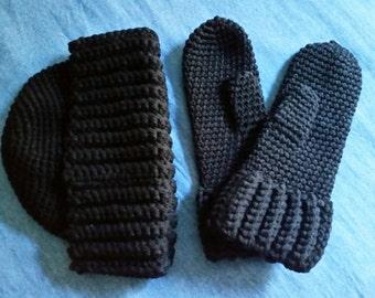 Three piece hat and mitten set