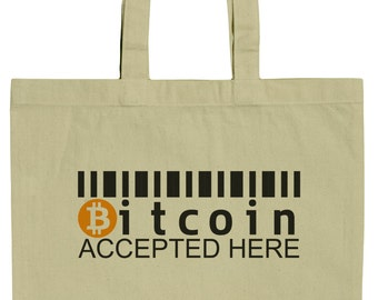 Bitcoin Accepted Here 15 Inch Canvas Tote Bag
