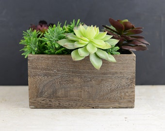"""Wood Planter Box, With Liner, 7.5""""x5.5"""" Wide"""