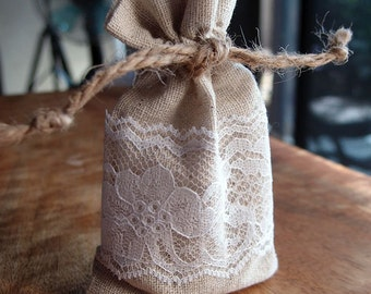 12 Pack Linen & Lace Favor Bags, Drawstring, 3x5 Inch