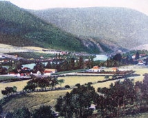 Australian Postcard, New Norfolk Tasmania, Capital of the Derwent Valley, colorized vintage real photo postcard RPPC, Australian History