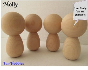 Kokeshi or Peg dolls - Unfinished, unpainted, DIY wooden dolls - Lot of 4 - Kokeshi dolls with Extra large heads - Molly -