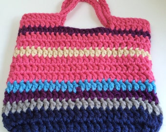 Tote Bag, Chunky Crochet Multicolor Pink